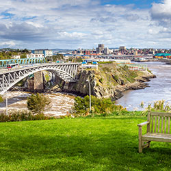 A view of Saint John, New Brunswick's cityline.